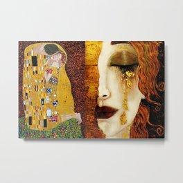 Gustav Klimt: The Kiss & Freya's Tears golden-red flower anemone college portrait painting Metal Print