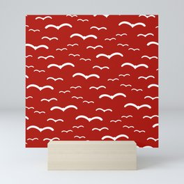 Maritime Sea Gull Pattern in Red & White - Mix & Match with Simplicity of Life Mini Art Print