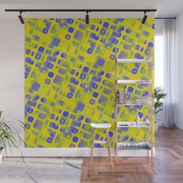 Blue Smudged Shapes On Yellow Wall Mural