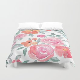 Amelia Floral in Pink and Peach Watercolor Duvet Cover