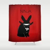 ninja Shower Curtains featuring NINJA by RAGING BUNNIES
