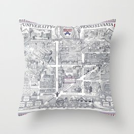 PHILADELPHIA University map PENNSYLVANIA dorm decor Throw Pillow