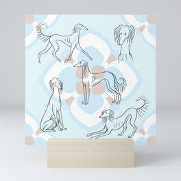 Saluki Pattern in Light Blue Mini Art Print