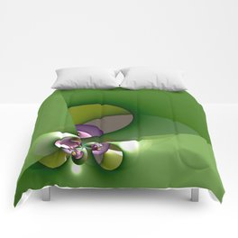 Abstract geometric round shapes on green Comforters