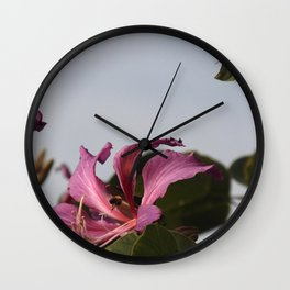 Photograph of flower and bee Wall Clock
