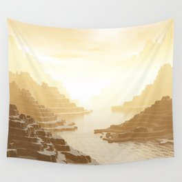 Misted Mountain River Passage Wall Tapestry
