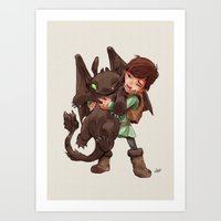 hiccup Art Prints featuring Hiccup & Toothless - Childhood  by David Tako
