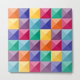 Jewel tones Tetris stones pattern Metal Print