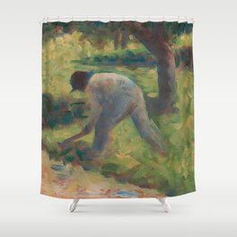 Peasant with a Hoe Oil Painting by Georges Seurat Shower Curtain