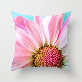 Beautiful Pink Flower Macro, Turquoise Blue Backdrop Throw Pillow