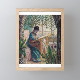 French Impressionist Portrait of Woman Drawing in a Garden Framed Mini Art Print