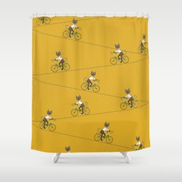 Gray hipster cat on a blue bicycle Shower Curtain