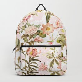 Vintage & Shabby Chic - Pink Sepia Summer Flowers Backpack