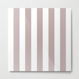 Silver pink grey - solid color - white vertical lines pattern Metal Print