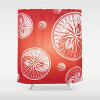 ying yang Shower Curtains featuring Ying-Yang Bipolar Compass by Erin Thomas