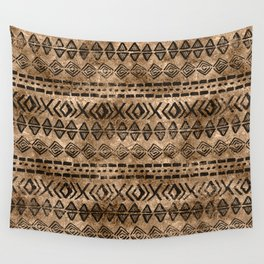 Ancient  Gold and Black Tribal Ethnic  Pattern Wall Tapestry