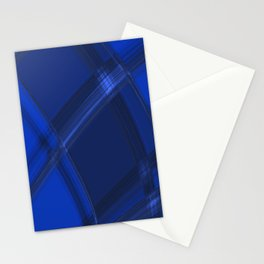 Metallic strokes with chaotic indigo lines from intersecting glowing neon stripes. Stationery Cards