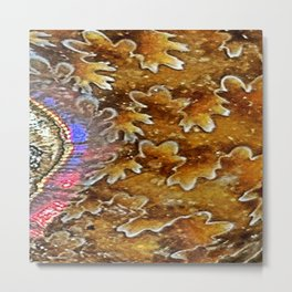 Opalized Sutured Ammonite Metal Print