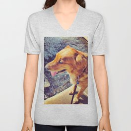 Beautiful dog golden retriever on the swimming pool Unisex V-Neck