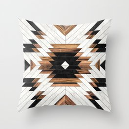 Urban Tribal Pattern No.5 - Aztec - Concrete and Wood Throw Pillow