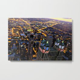 Chicago By Night Metal Print