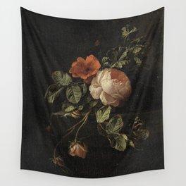 Elias van den Broeck - Still life with roses - 1670-1708 Wall Tapestry