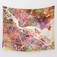 amsterdam Wall Tapestries featuring Amsterdam by MapMapMaps.Watercolors