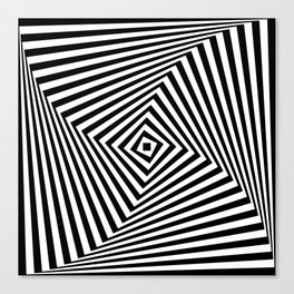 Op art rotating square in black and white Canvas Print