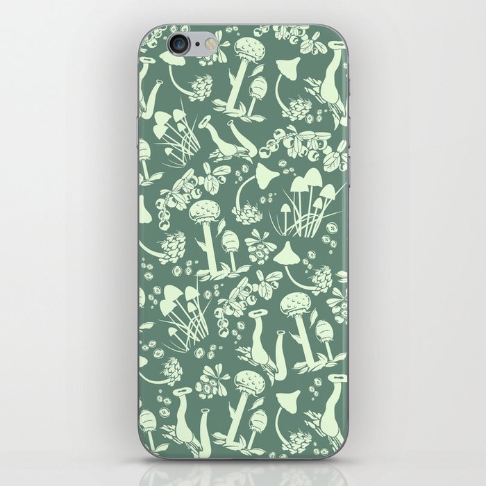 White mushrooms on green background iPhone Skin