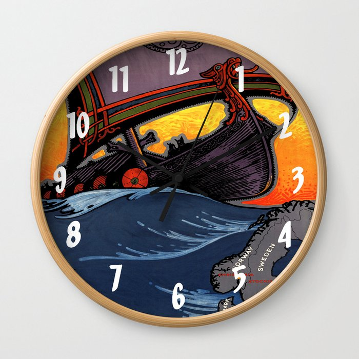 Scandinavia Land of the Vikings - Vintage Travel Wall Clock