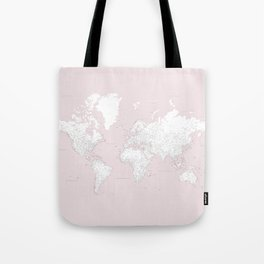 World map, highly detailed in dusty pink and white, square Tote Bag