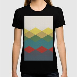 Abstract argyle pattern, mountain landscape - white, yellow, green, blue, red, grey T-shirt