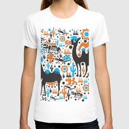 the Cute Desert - Funny Camel, cactus, skeleton, lizard pattern illustration T-shirt