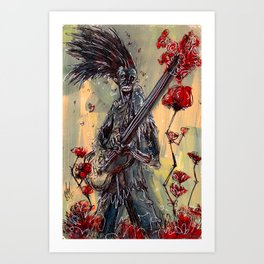 Eternal Guitarist playing for a ROSE Art Print