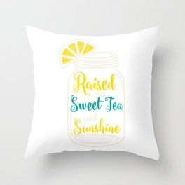 Womens Christian Southern Gift Girls Sweet Tea And Sunshine Design Throw Pillow