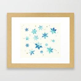 ICY BLUE SNOWFLAKE PATTERN Framed Art Print