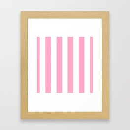 Pale Sweet Lilac and White Wide Vertical Cabana Tent Stripe Framed Art Print
