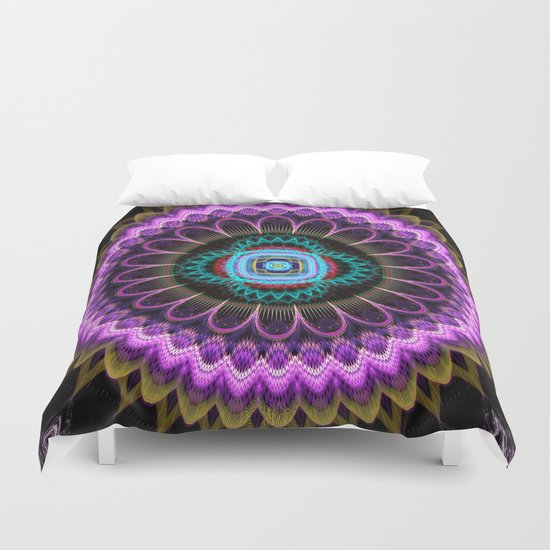 Groovy mandala with fantasy flower and tribal patterns Duvet Cover