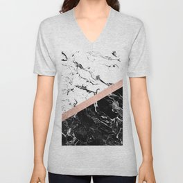 Modern black white marble color block rose gold Unisex V-Neck