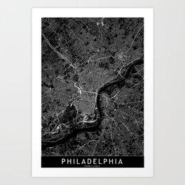 Philadelphia Black Map Art Print