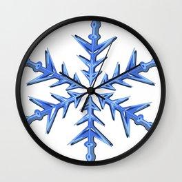 Minimalistic Ice Blue Snowflake Wall Clock