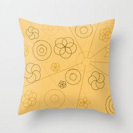 Brown Abstract Lines and Circles Throw Pillow