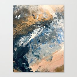 Wander [3]: a vibrant, colorful abstract in blues, pink, white, and gold Canvas Print