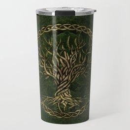 Tree of life -Yggdrasil -green and gold Travel Mug