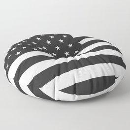 American Flag Stars and Stripes Black White Floor Pillow