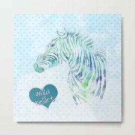 Zebra Watercolor Wild At Heart Blue Teal Turquoise Metal Print