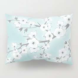 Cherry Blossoms Mint White Pillow Sham
