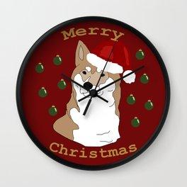 Shiba inu Dog Christmas Wall Clock