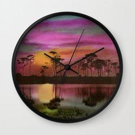 Florida Everglades, Twilight by E.G. Barnhill Wall Clock