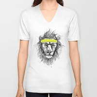 lion V-neck T-shirts featuring hipster lion by Balazs Solti
